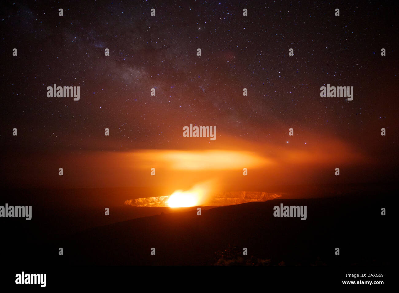 Nighttime view of Halemaumau Crater in the Kilauea caldera, in Hawaii Volcanoes National Park, on the Big Island - Stock Image