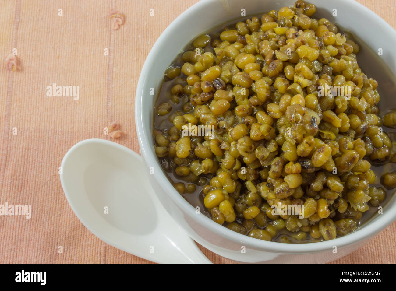 Mungbeans in light syrup or Green bean in syrup in a cup Deserts of Thailand - Stock Image