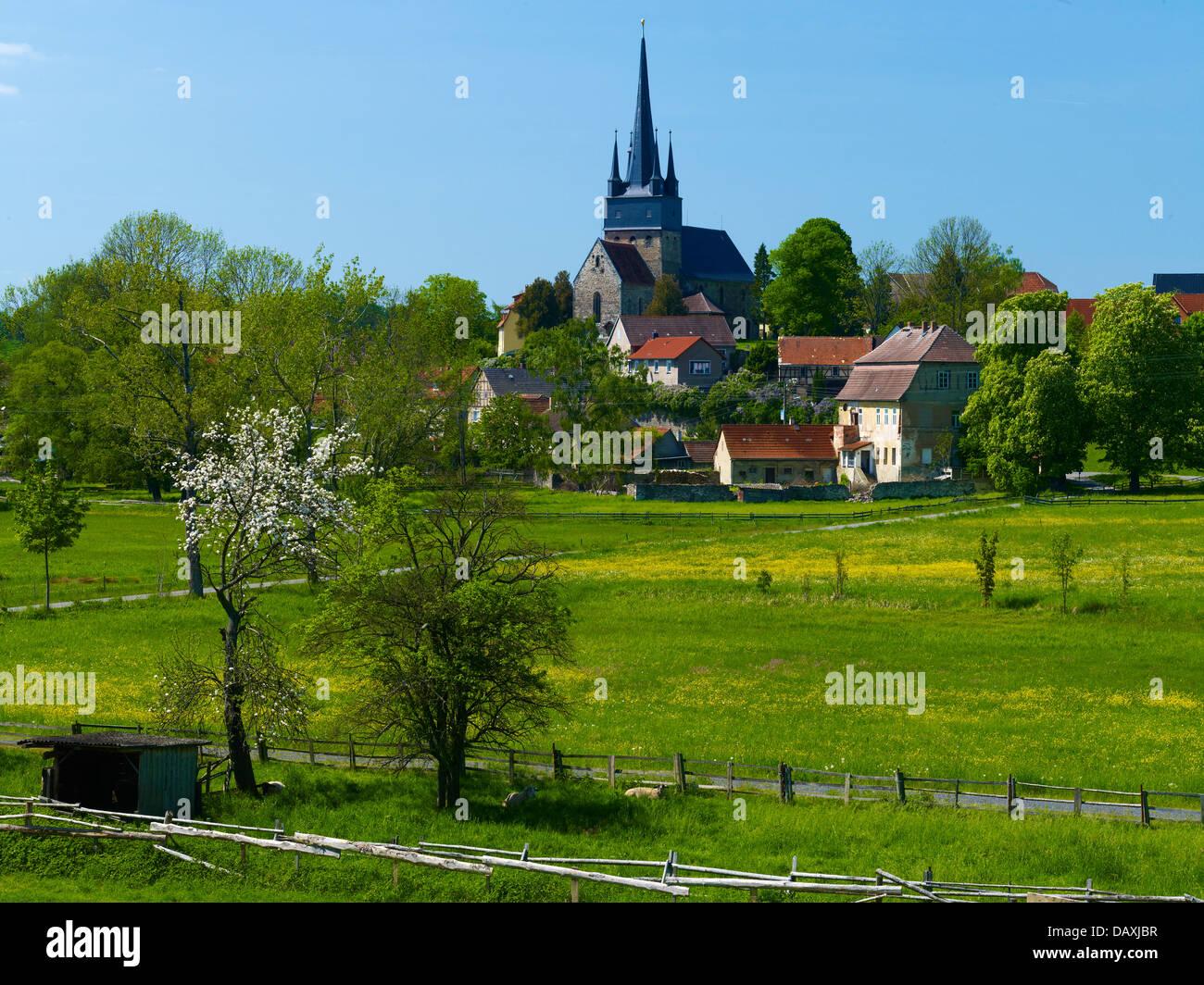 Neunhofen with church, Neustadt an der Orla, Thuringia, Germany - Stock Image