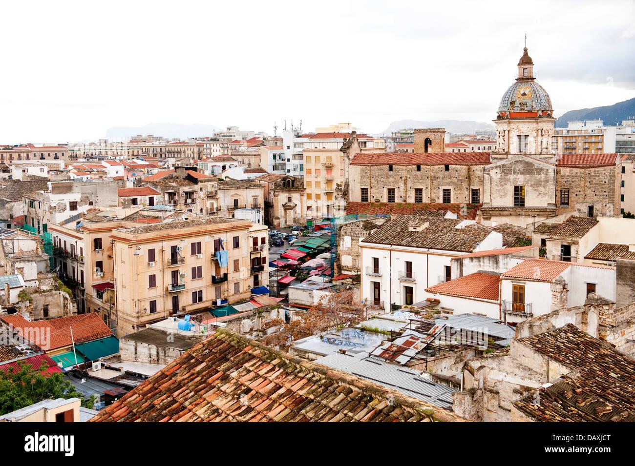 View over Ballaro markets, Palermo, Sicily, Italy - Stock Image