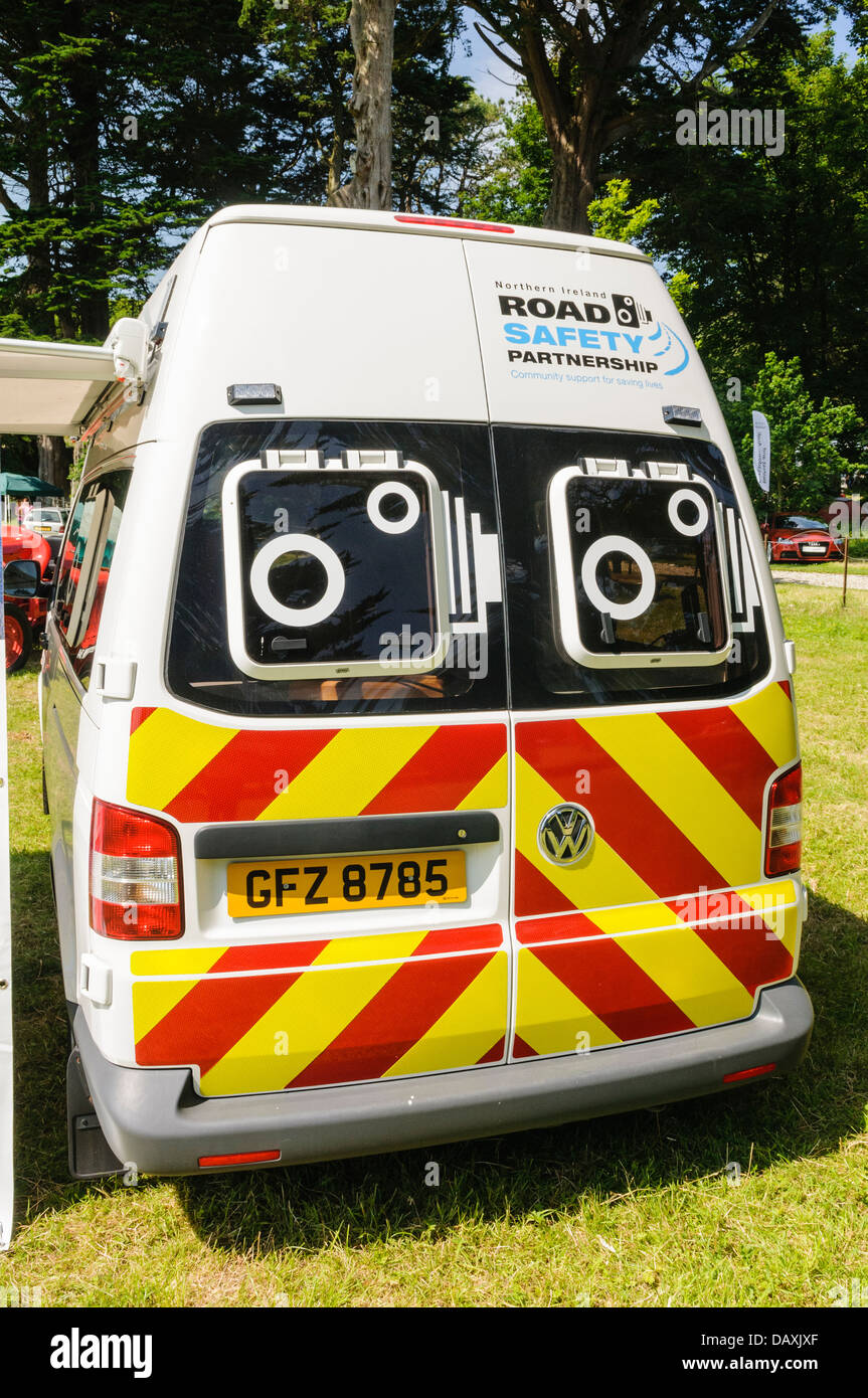 Rear of a police speed detection van Stock Photo