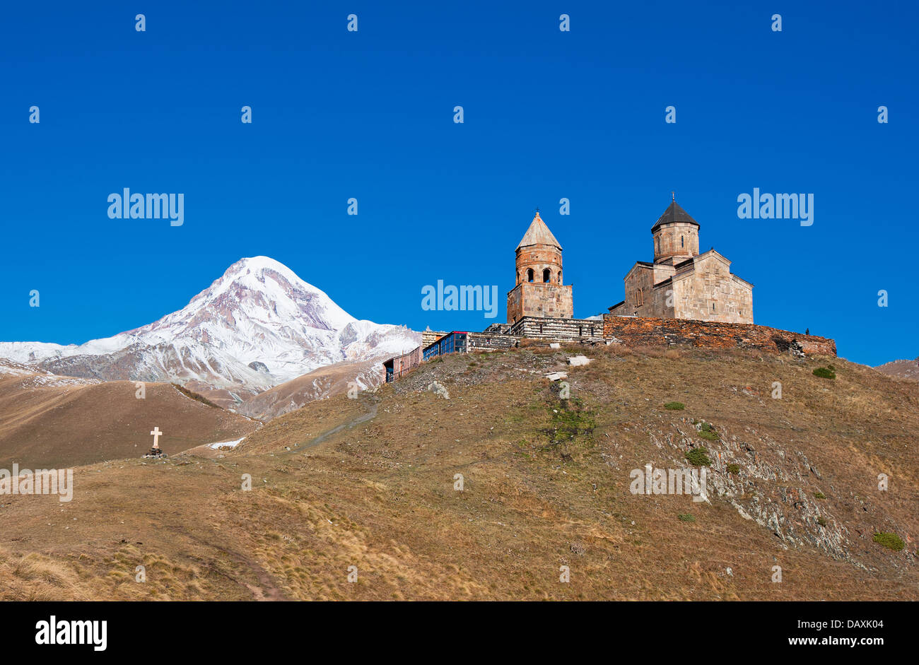 Mount Kazbek and Trinity Monastery, Georgia Stock Photo