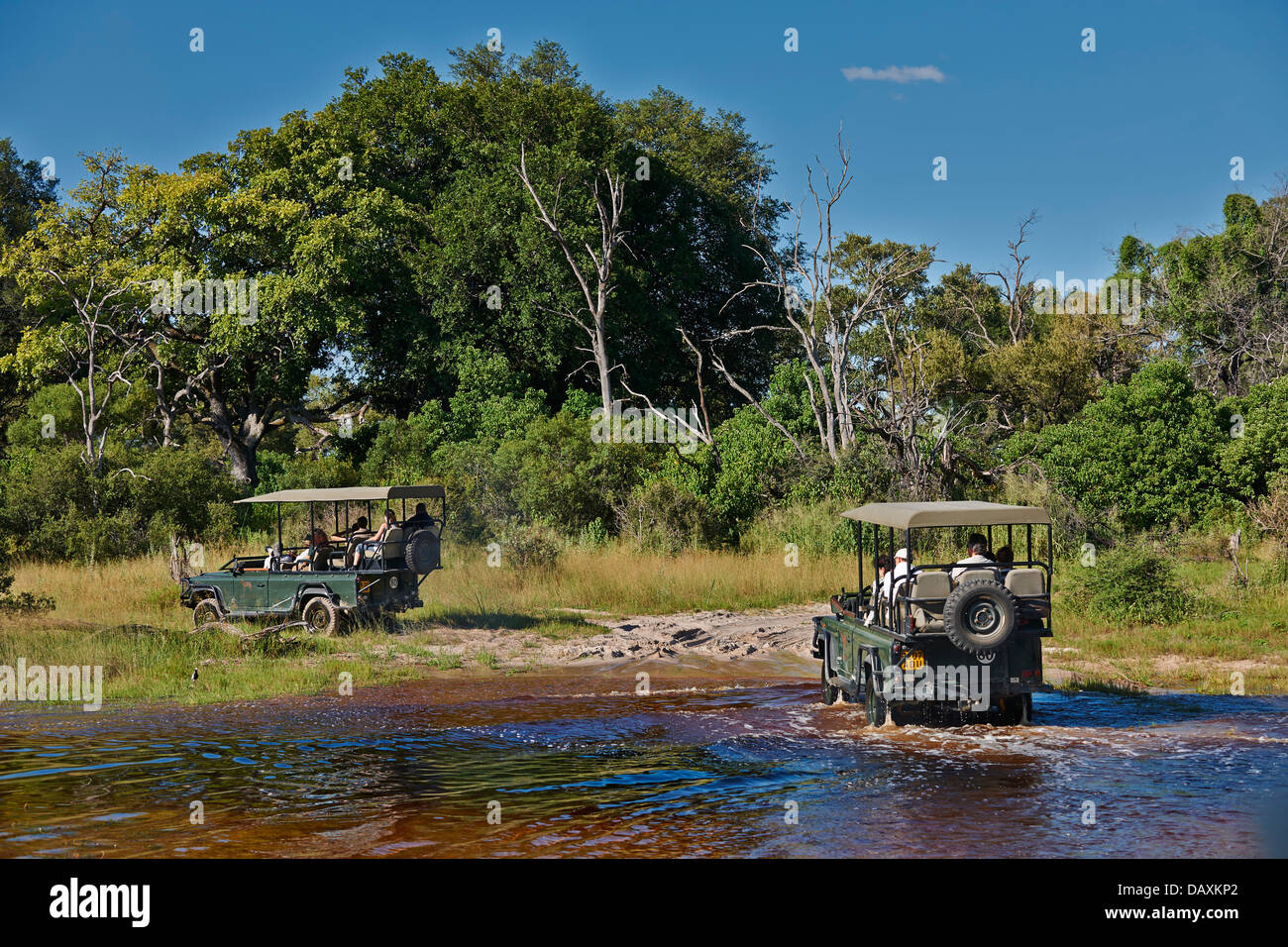 tourists in safari cars crossing water, Chitabe, Okavango Delta, Botswana, Africa - Stock Image