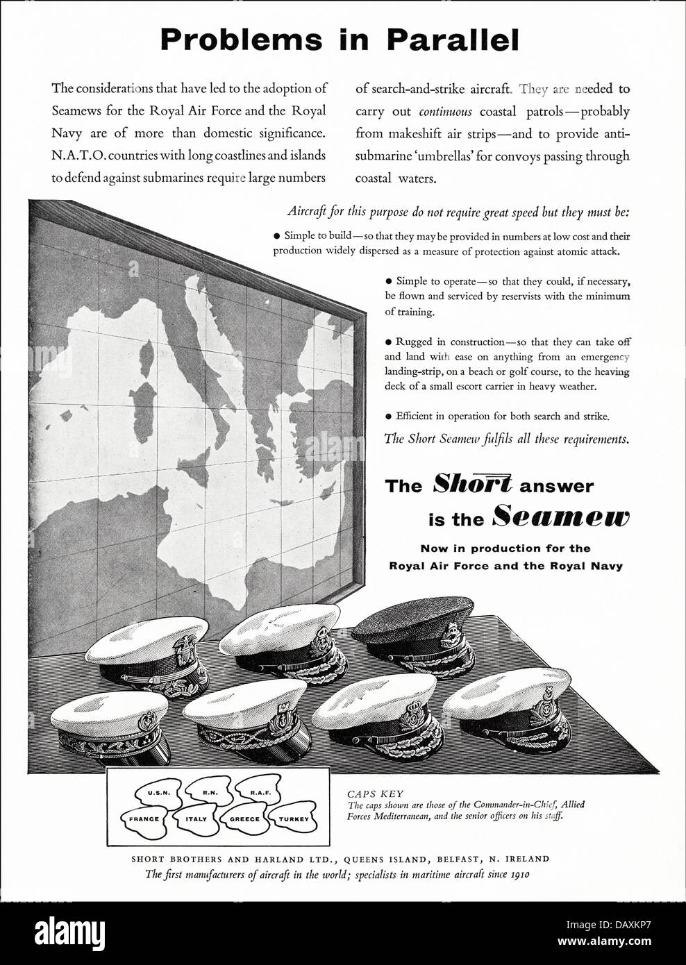 Advert for Seamew anti-submarine aircraft by Short Brothers and Harland Ltd Belfast N. Ireland UK suppliers to the - Stock Image