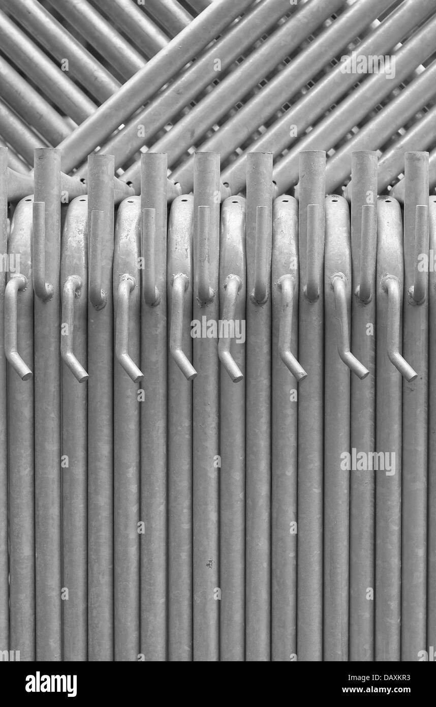 Composition of Scaffolding Pipes on a Construction Site - Stock Image