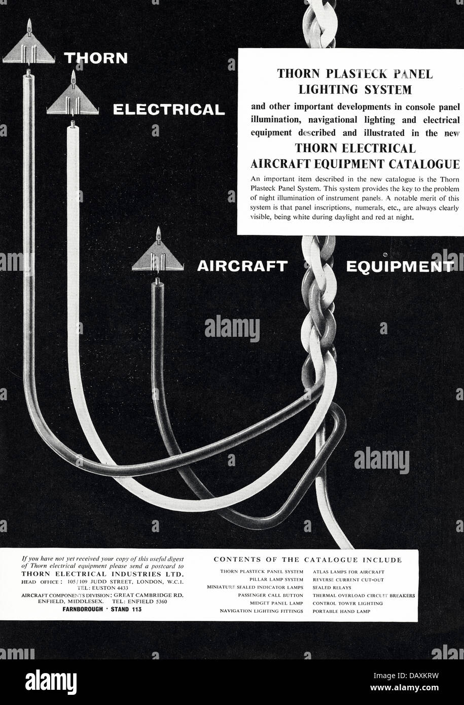 advert for aircraft electrical euipment by thorn electrical stock