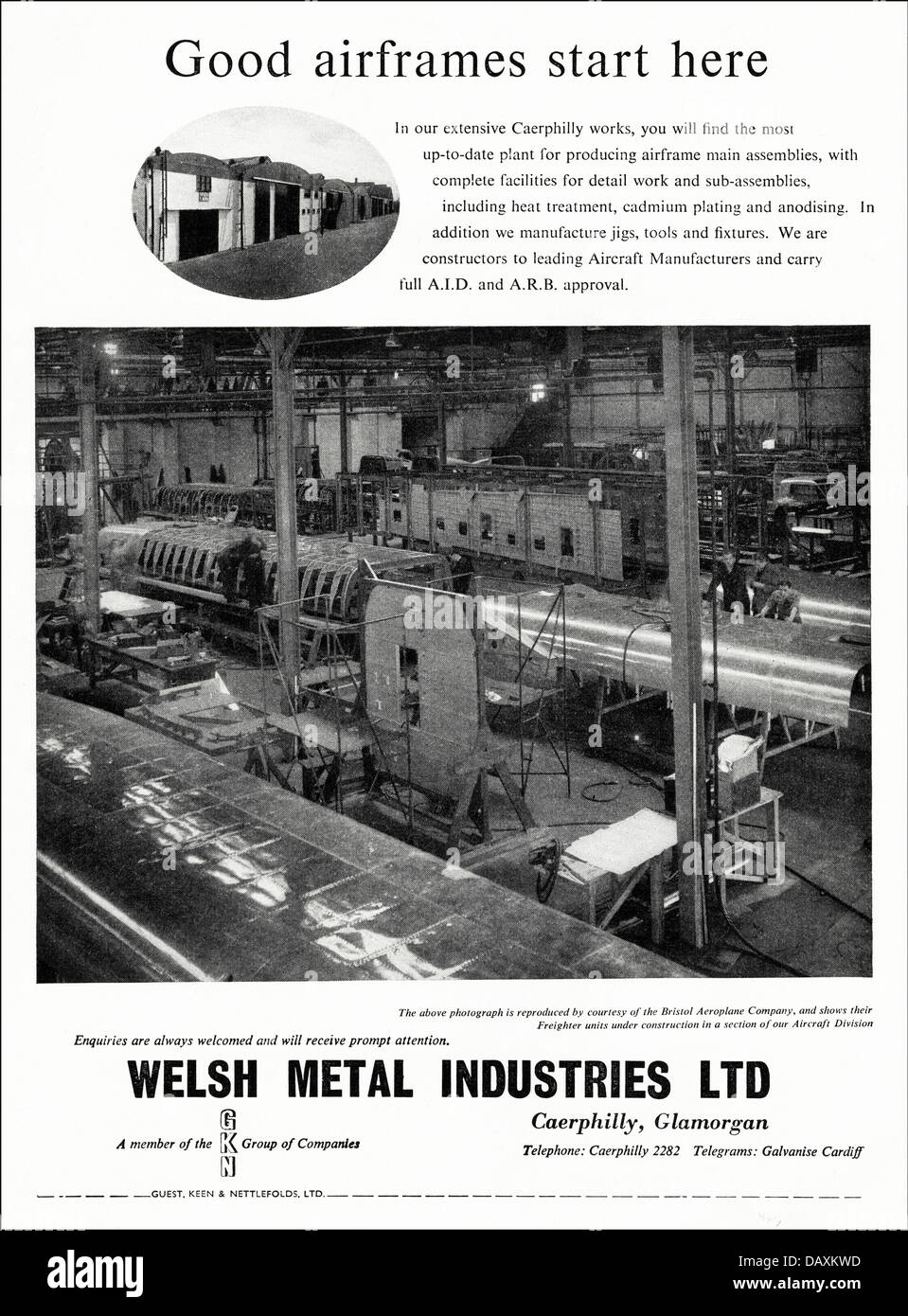 Advert for airframe assembly by Welsh Metal Industries Limited Caerphilly Glamorgan South Wales UK suppliers to - Stock Image