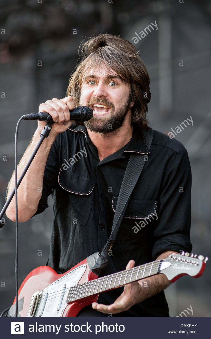 The Vaccines performing live - singer Justin Young - Stock Image