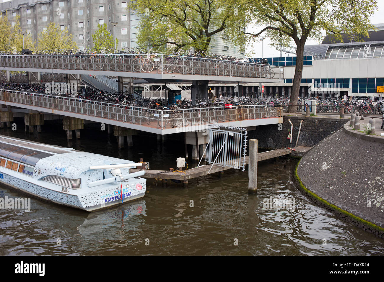 Large multi-level bike parking in Amsterdam, Netherlands, next to the Central Station. - Stock Image