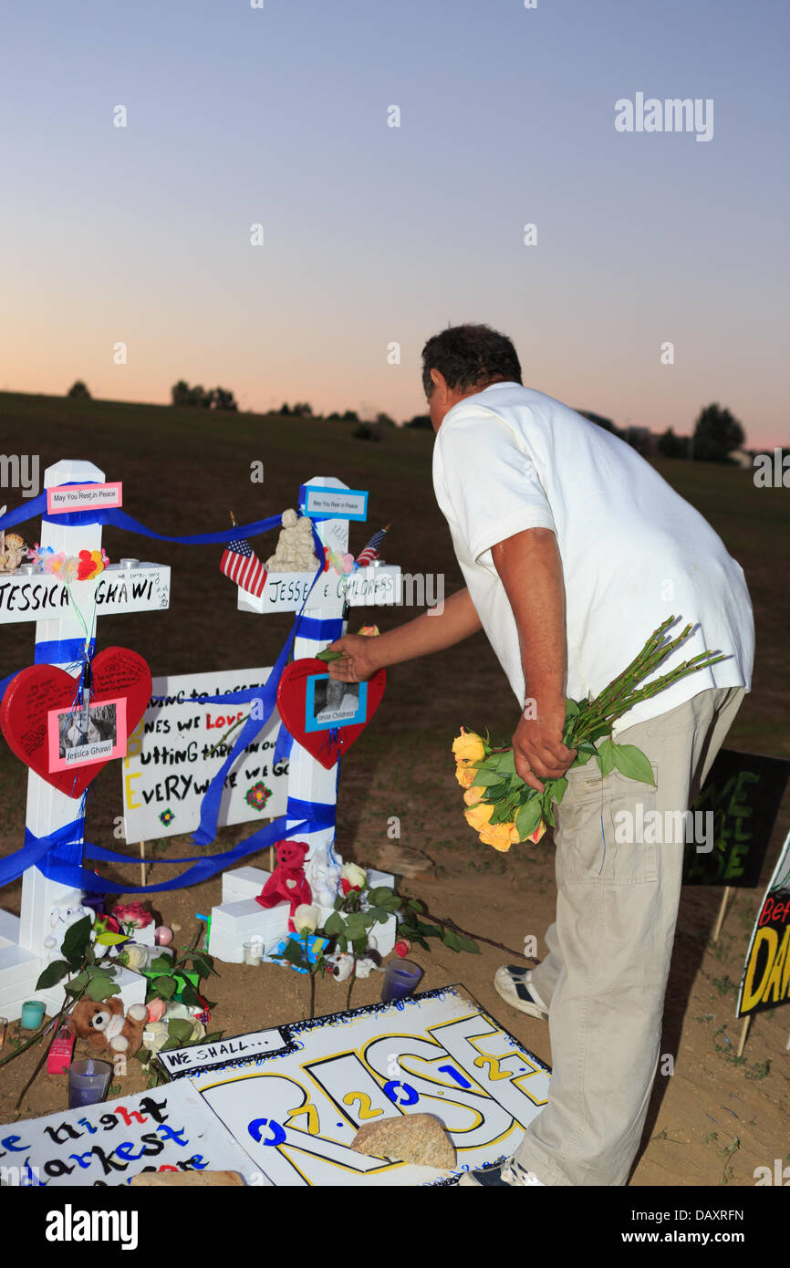 Aurora, Colorado, 20th July. On the one year anniversary of the Aurora Theater shooting in Aurora, Colorado, Greg - Stock Image