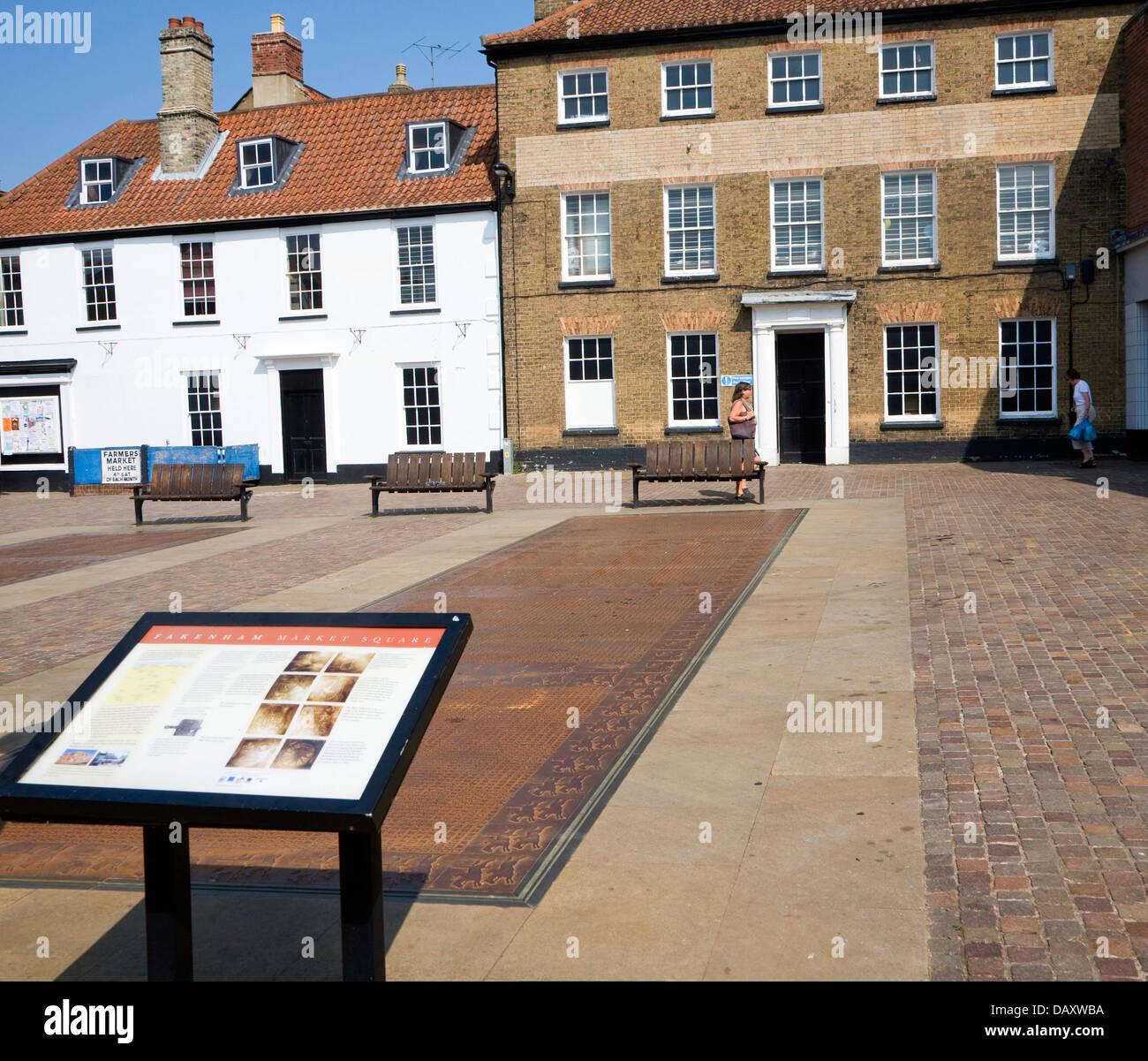 Typeface font display Market Place Fakenham Norfolk England marking the town's historic publishing connection. - Stock Image