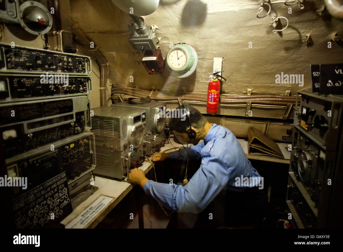 Statue of technician in the control room, INS - Stock Image