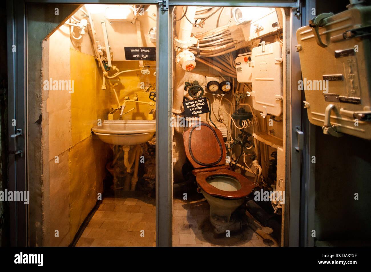 Bathroom of a Submarine, INS Kursura (S20), Ramakrishna Mission Beach, Visakhapatnam, Andhra Pradesh, India - Stock Image