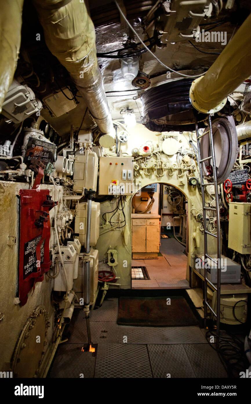 Interiors of a submarine, INS Kursura (S20), Ramakrishna Mission Beach, Visakhapatnam, Andhra Pradesh, India - Stock Image