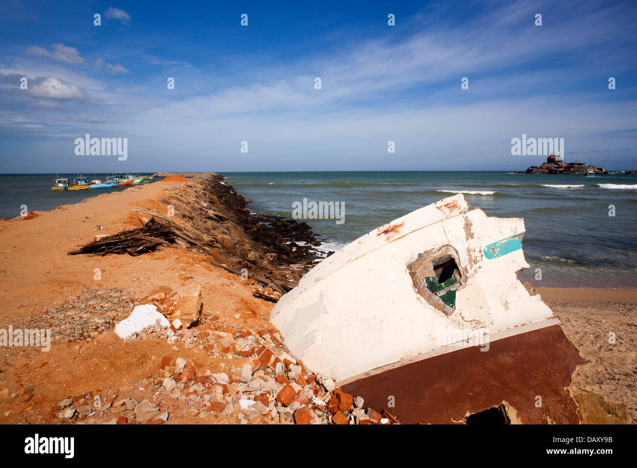 Rubbles of destroyed house on the beach, Kanyakumari, Tamil Nadu, India - Stock Image