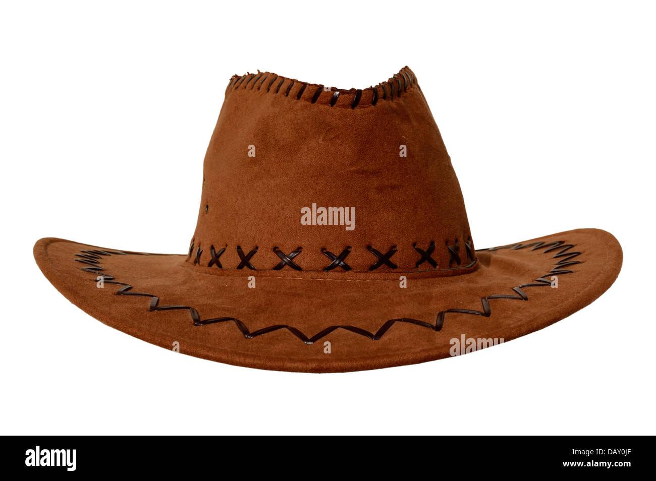 brown cowboy hat - Stock Image