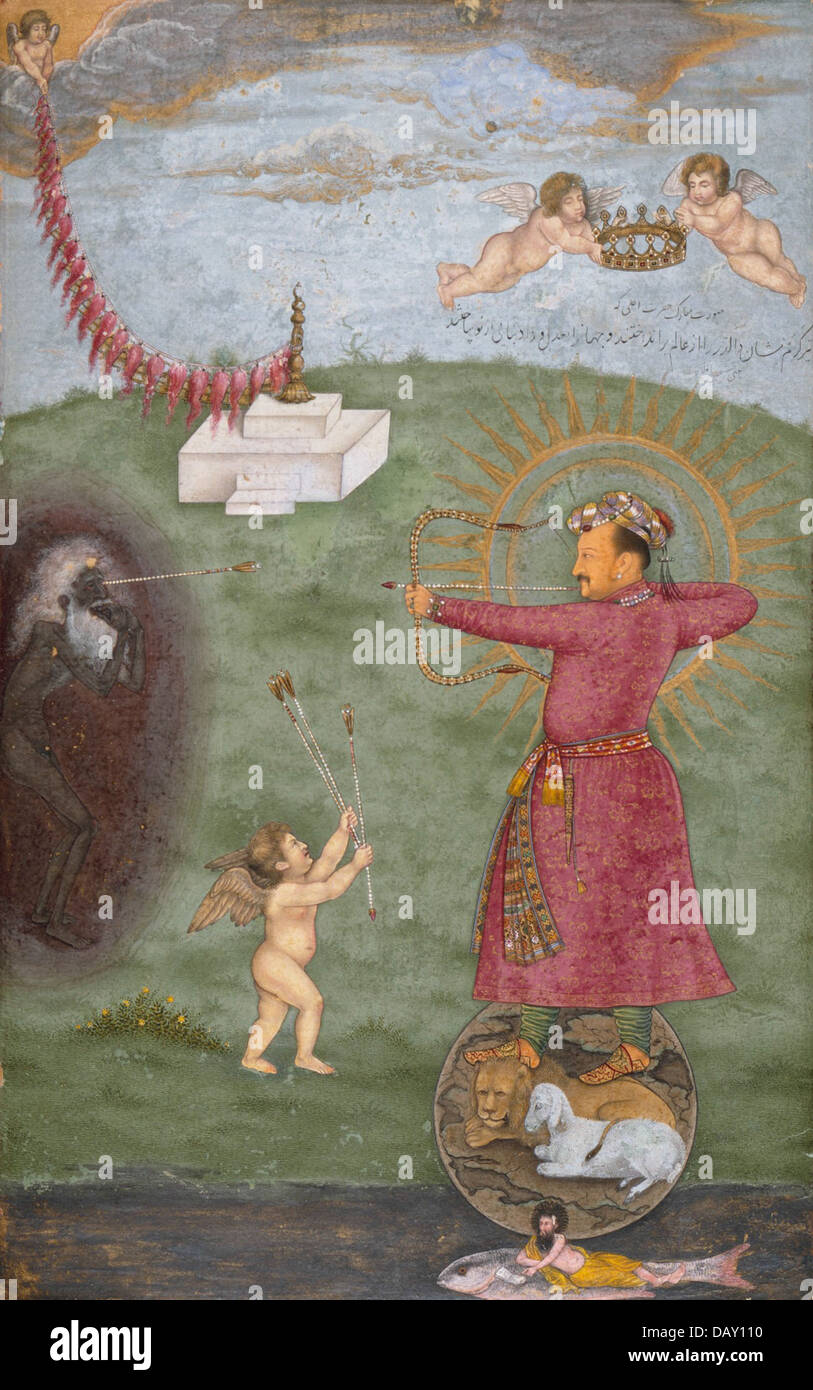 Emperor Jahangir Triumphing Over Poverty M.75.4.28 (2 of 2) Stock Photo