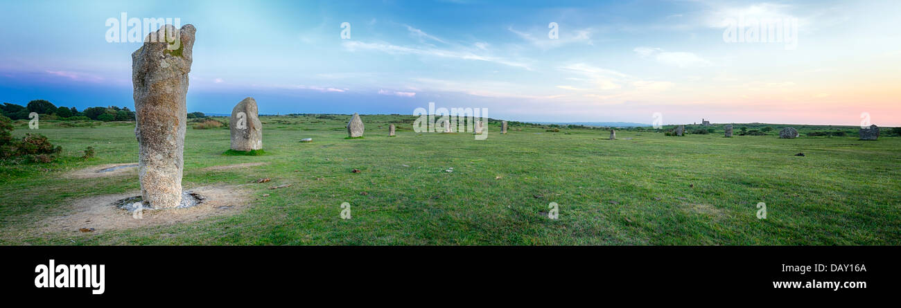 Sunset at The Hurlers Stone Cirlce at Minions near Liskeard on Bodmin Moor in Cornwall - Stock Image