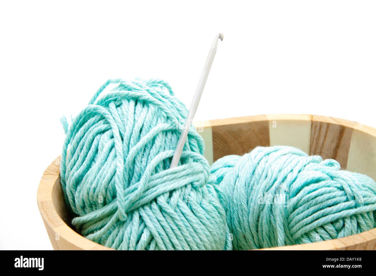 Crochet wool with crochet needle - Stock Image