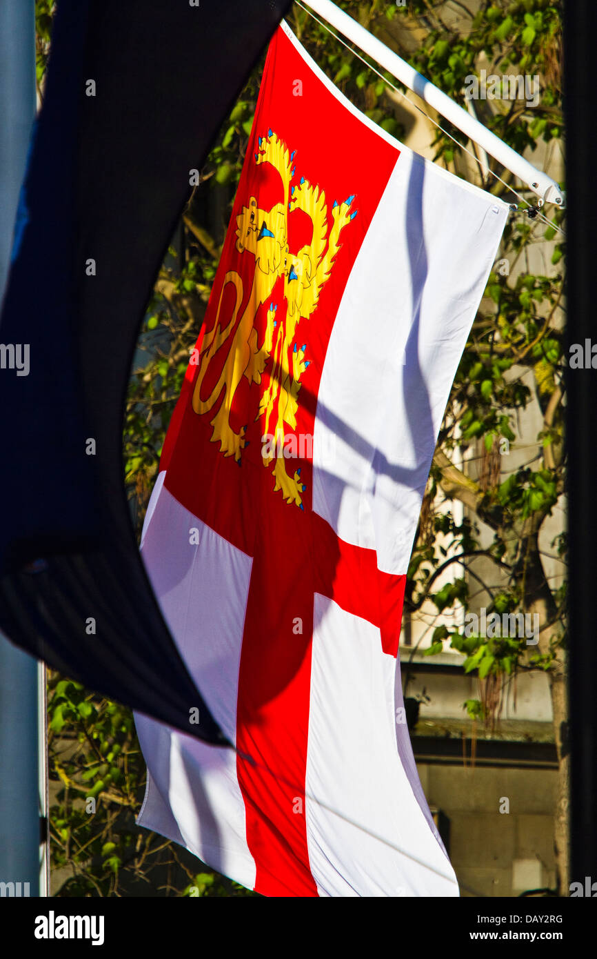 British Crown dependency flag for Sark flying in Parliament square, London - Stock Image