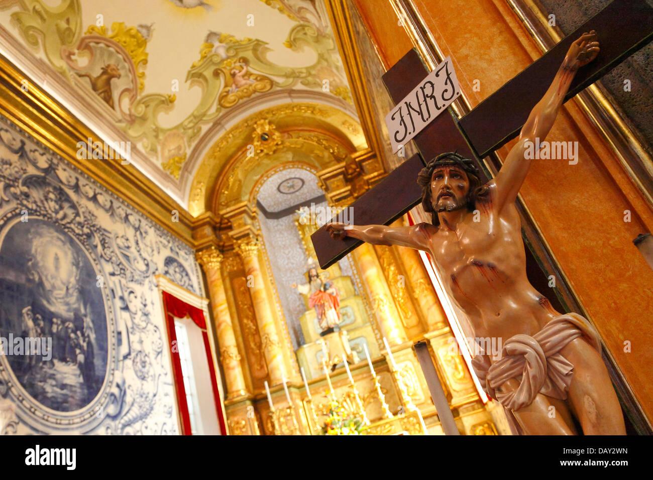 Inside the church in the parish of Ribeirinha, Sao Miguel island, Azores, Portugal - Stock Image