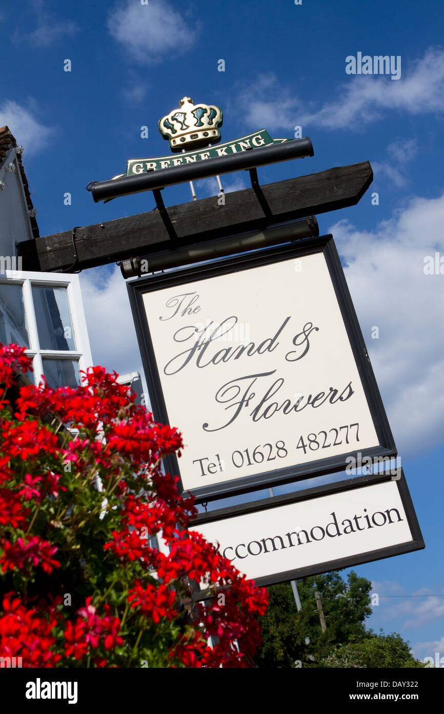Sign for The Hand & Flowers pub and restaurant, Marlow. - Stock Image