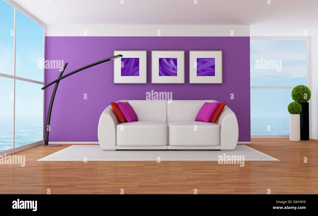 Minimalist purple living room with white couch - rendering ...