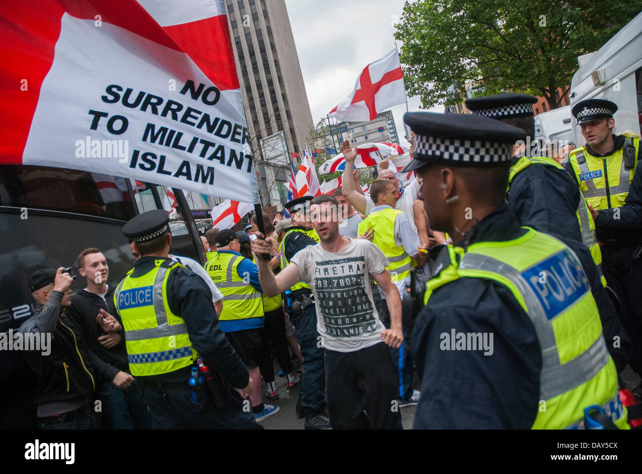 Birmingham, UK. 20th July, 2013. English Defence League supporters were to be escorted by police to Centenary Square - Stock Image