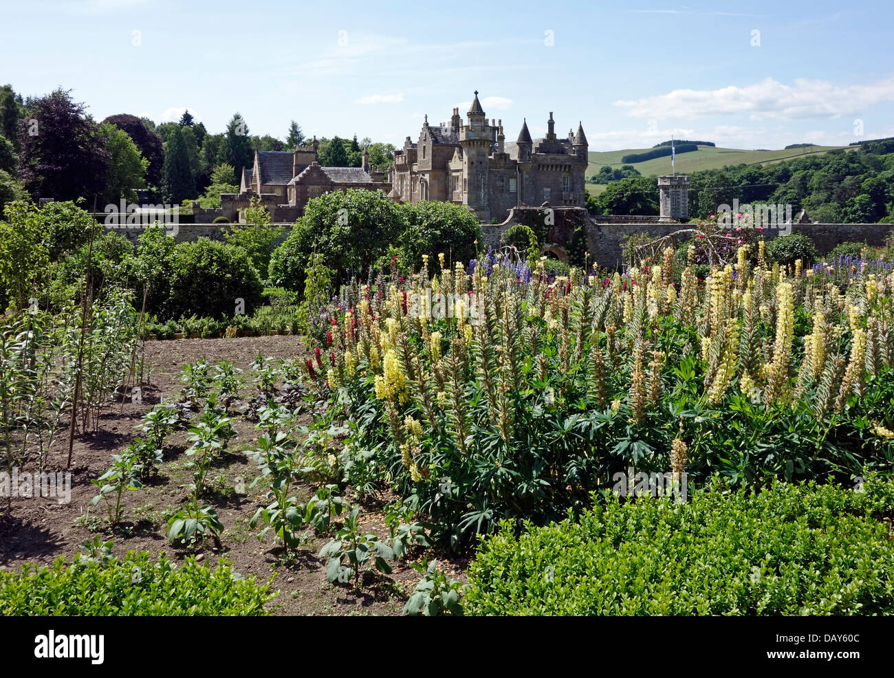 Garden at Abbotsford House home of Sir Walter Scott in Melrose Scottish Borders Scotland - Stock Image