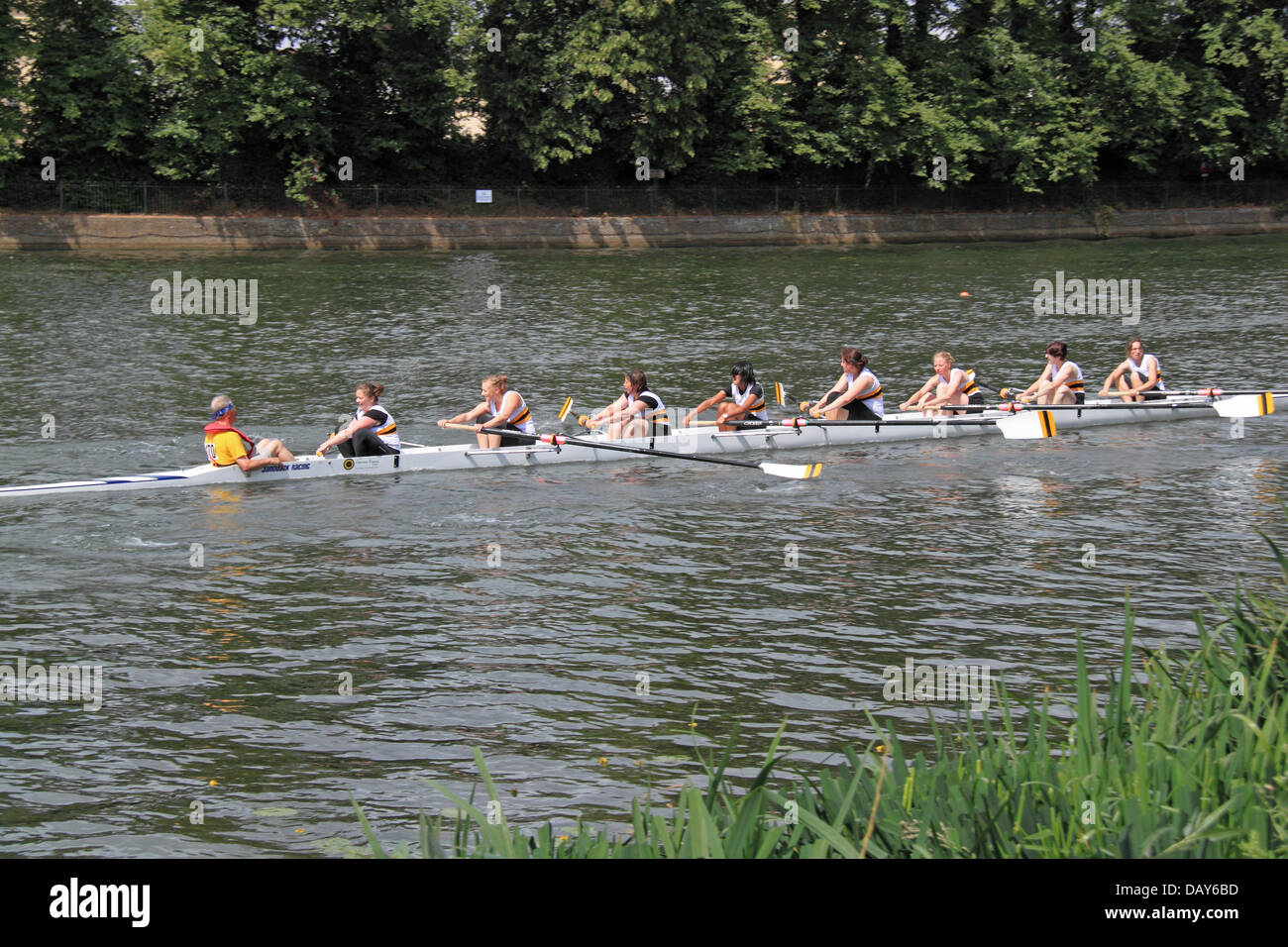 Poplar and Blackwell Rowing Club women's coxed eight at Molesey Amateur Regatta, 20th July 2013, River Thames, - Stock Image