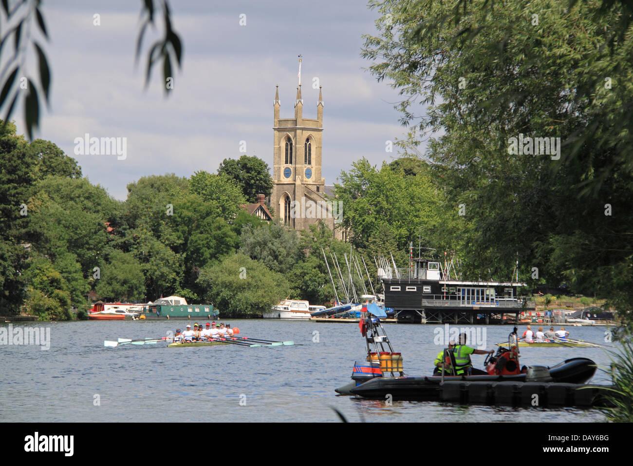 Cambridge University Women's Boat Club women's coxed eight at Molesey Amateur Regatta, 20th July 2013, River - Stock Image