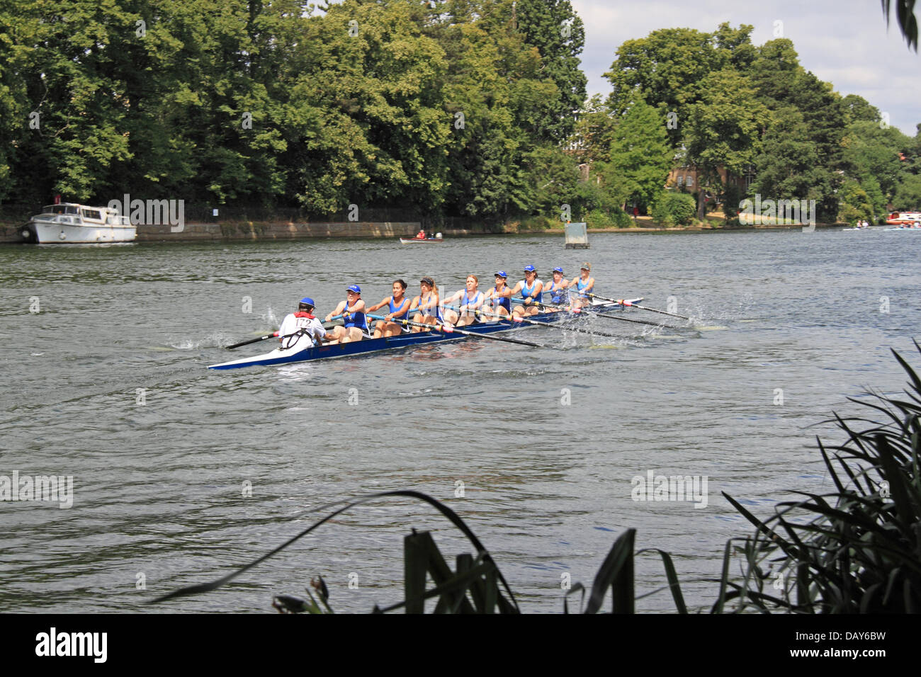 Sons of the Thames Rowing Club women's coxed eight at Molesey Amateur Regatta, 20th July 2013, River Thames, - Stock Image