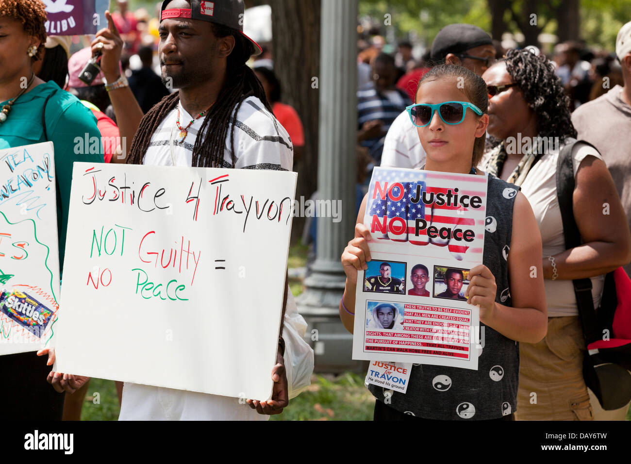 Justice for Trayvon Martin rally  - Washington, DC USA - Stock Image