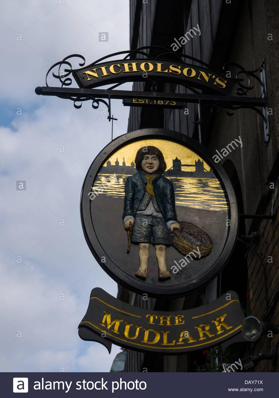 Beer Beggar Boy Dirty Drink Drinking House London England UK London England UK Pub Sign The Mudlark Public Small Stock Photo
