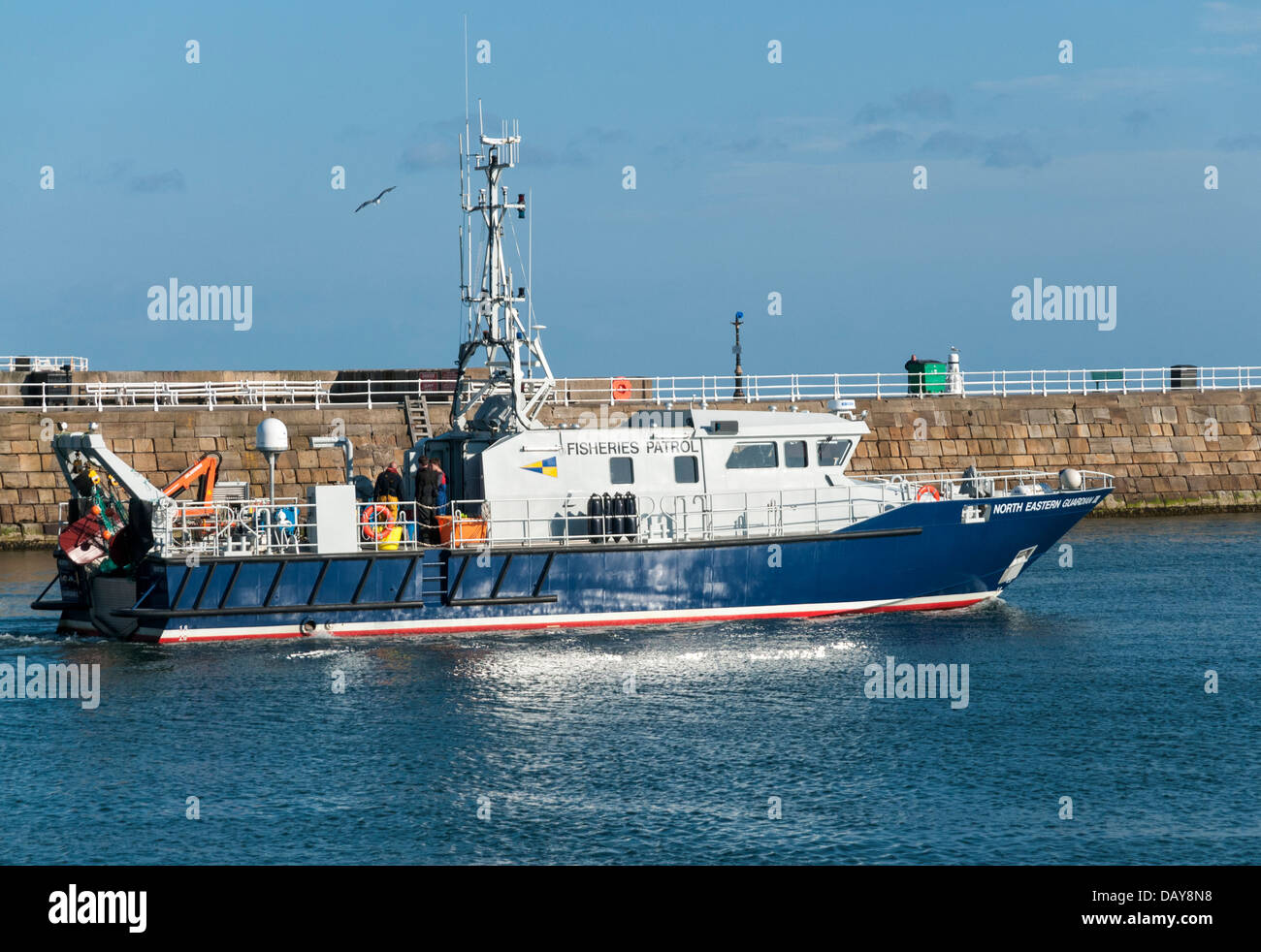 Great Britain, England, North Yorkshire, Whitby, River Esk, harbour, Fisheries Patrol Boat - Stock Image