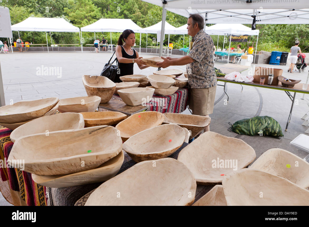 Man Selling Hand Carved Wooden Bowls Stock Photo 58377829 Alamy