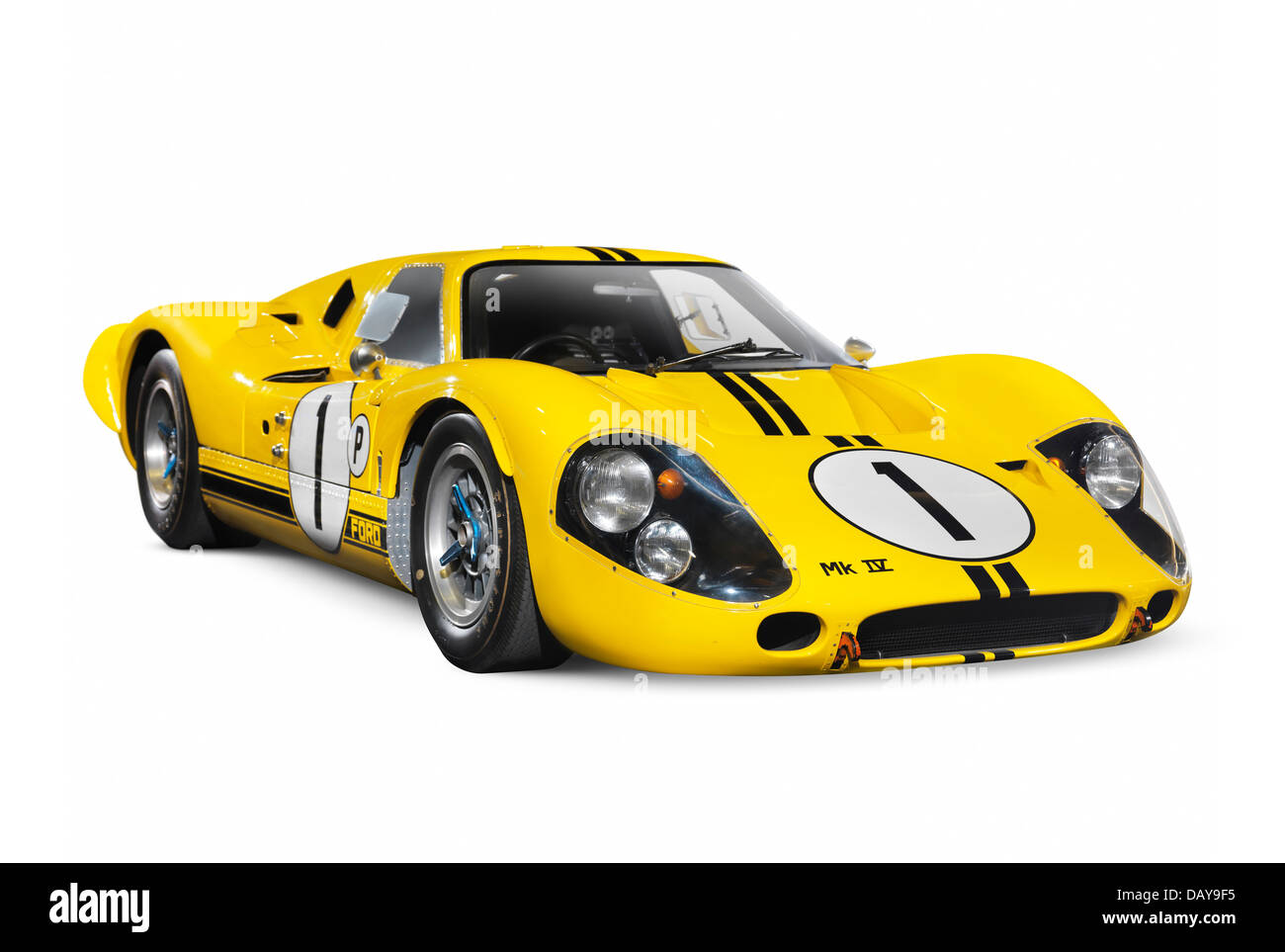 Yellow  Ford Gt  Mk Iv Isolated On White Background With Clipping Path