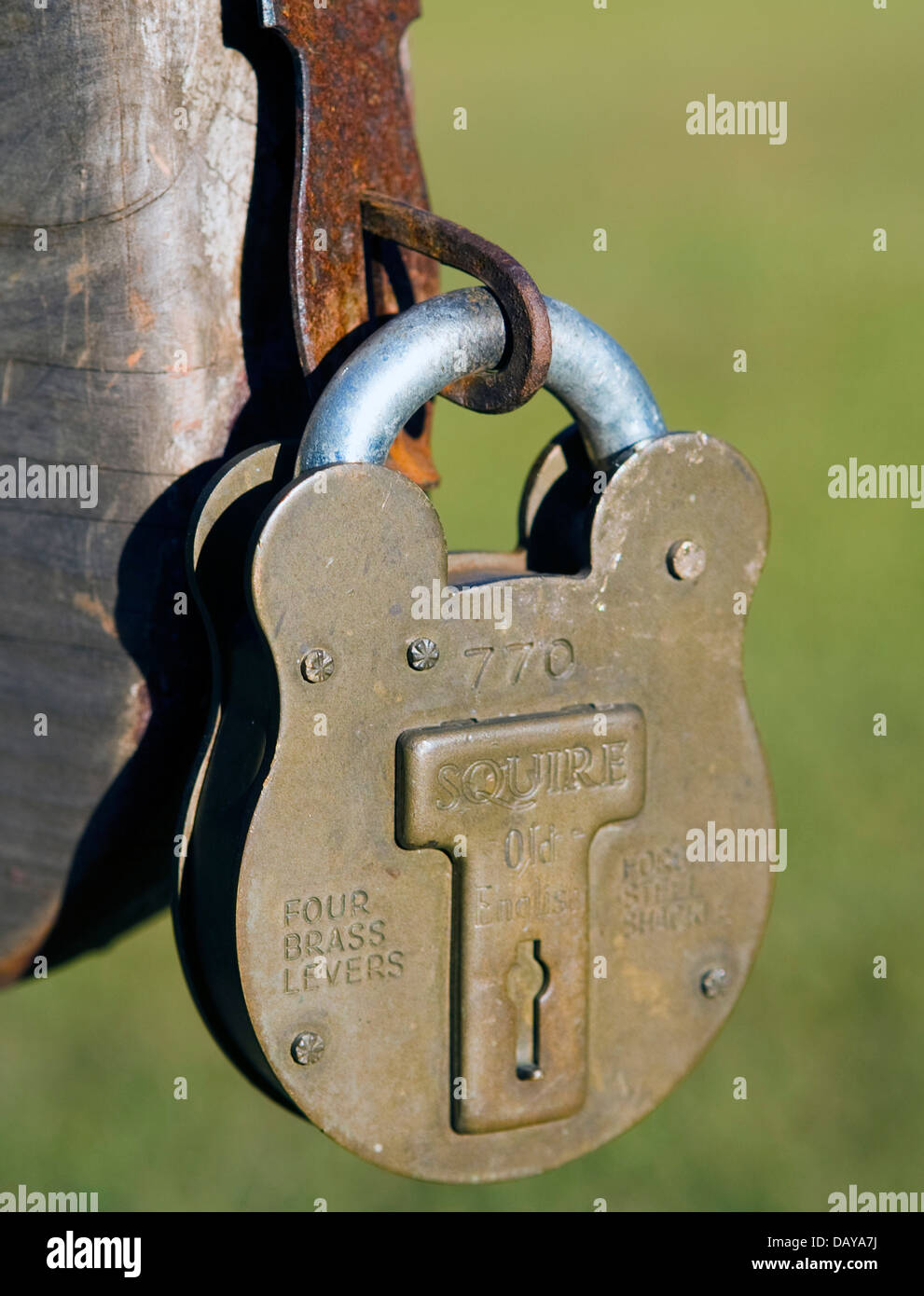 A Squire lock on the stockades on the grounds of Ninety Six National Historic Site, near Ninety-Six, South Carolina, - Stock Image