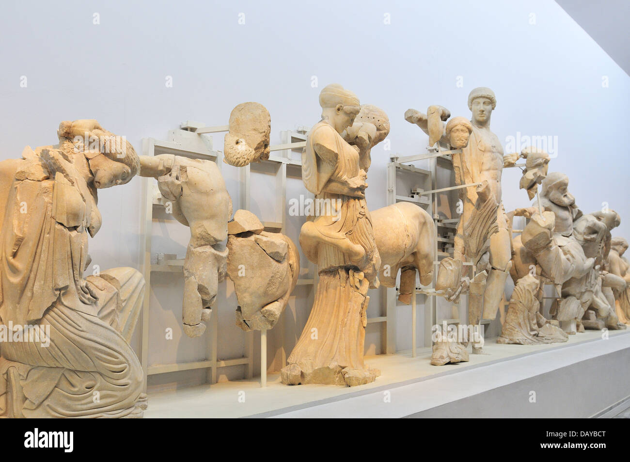 Exhibits on display  from  the pediment of the temple of Zeus at Olympia  at Greece's Ancient Olympia Museum, - Stock Image