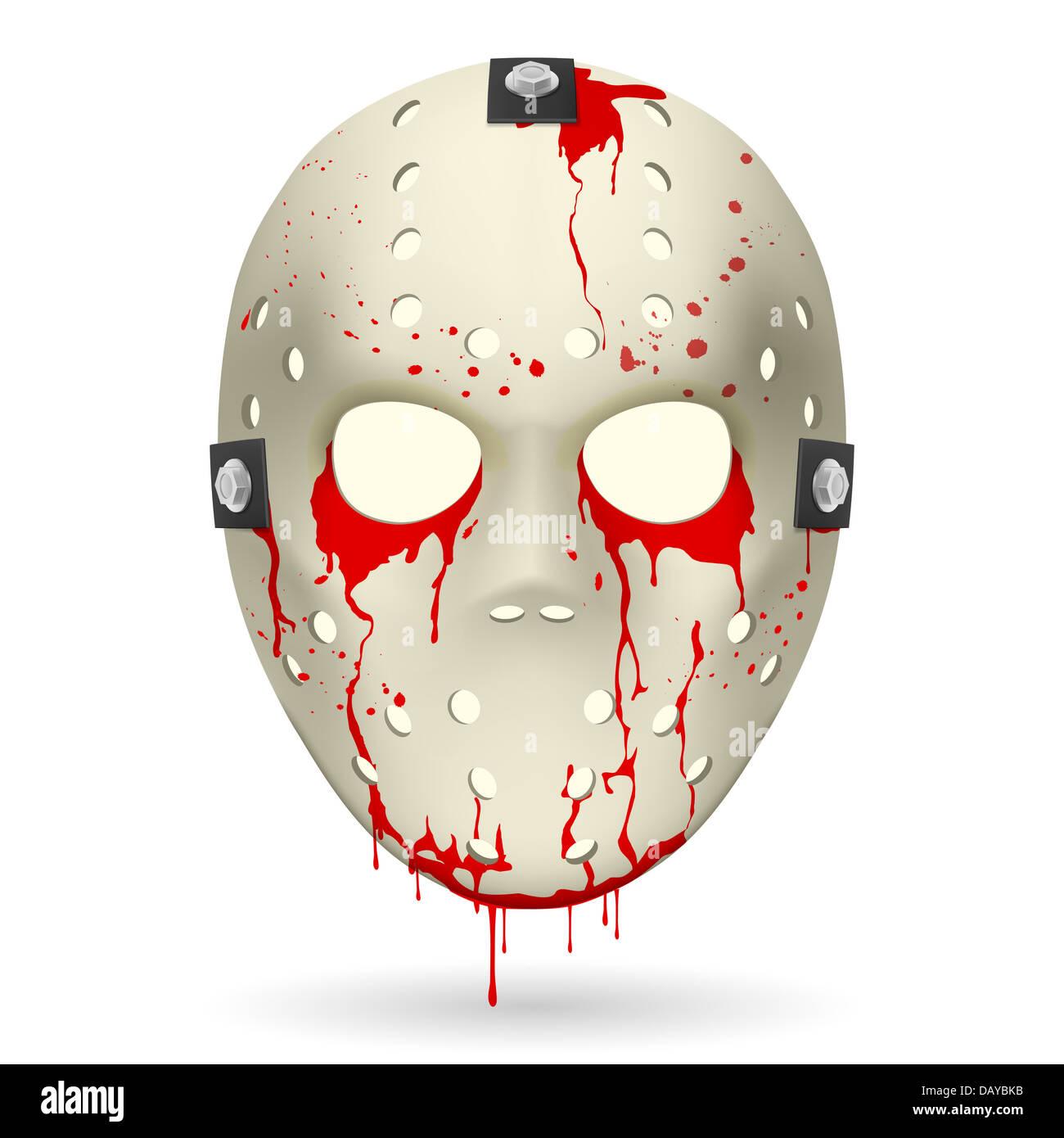 Bloody Hockey Mask. Illustration on white background for design. - Stock Image