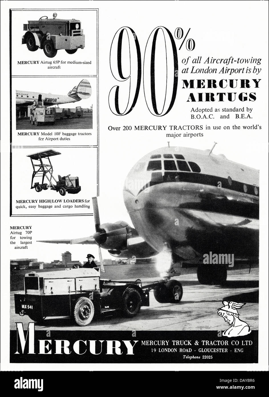 Advert for aircraft tow tractors by Mercury Truck & Tractor Co Ltd Gloucester England UK suppliers to the aircraft - Stock Image