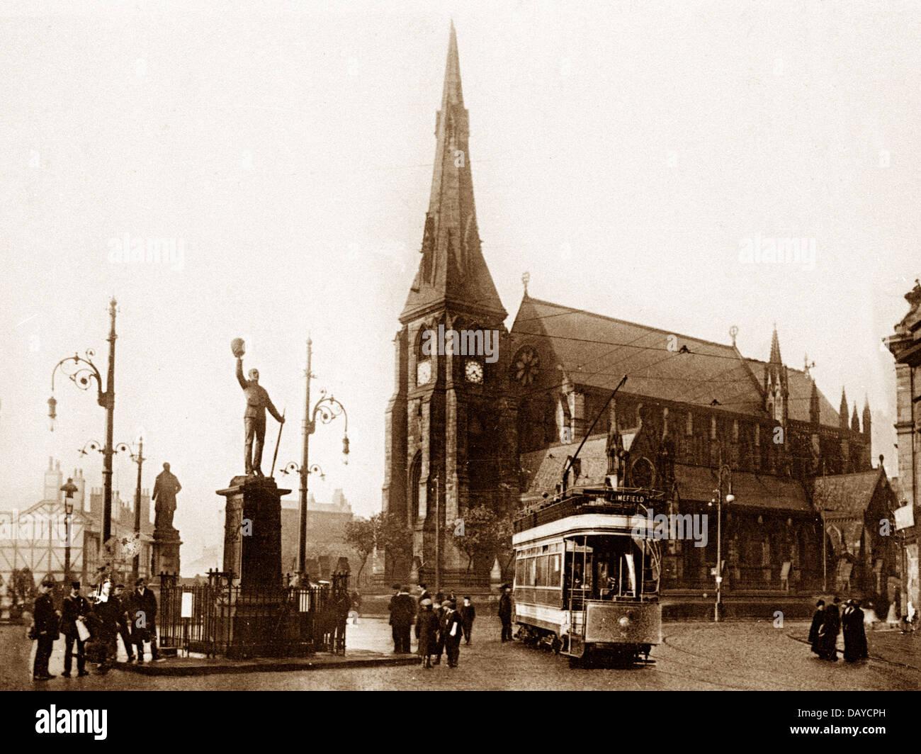 Bury Market Place early 1900s - Stock Image