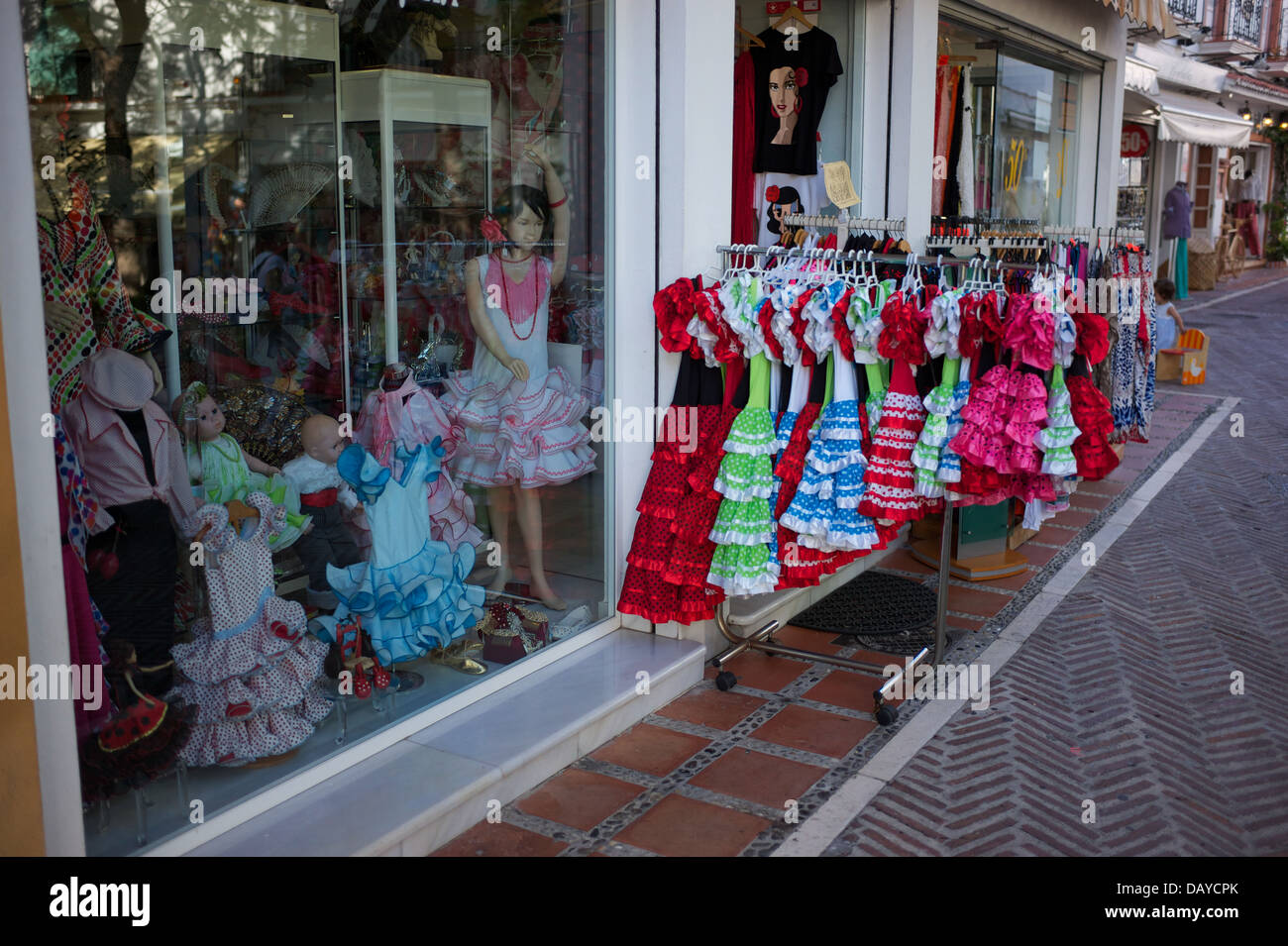 Spain,flamenco,market,summer,fashion,spanish,clothing,souvenir,classical,latin,frills,national,embroidery,typical,clothes,red, - Stock Image