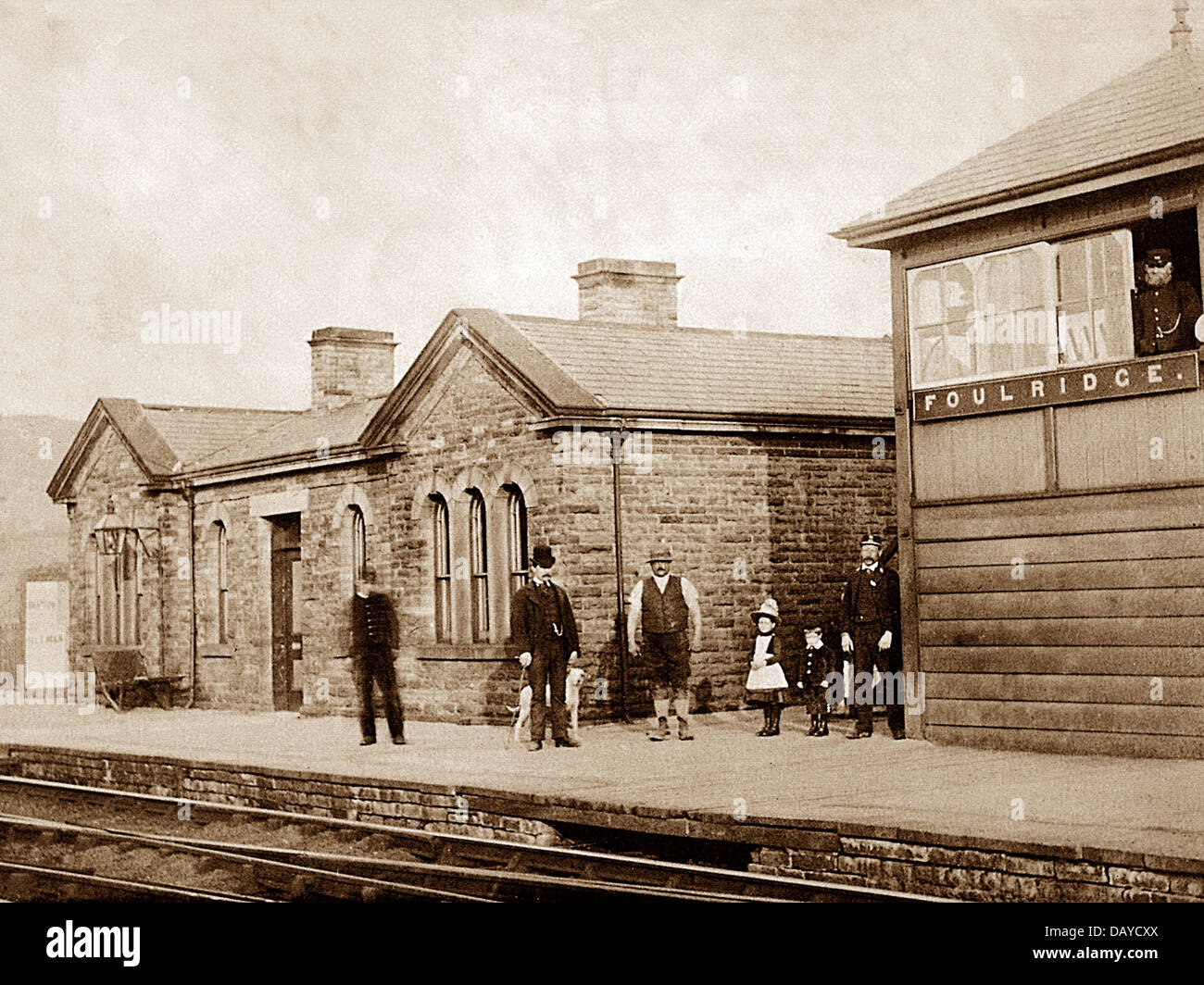 Foulridge Railway Station and Signal Box early 1900s - Stock Image