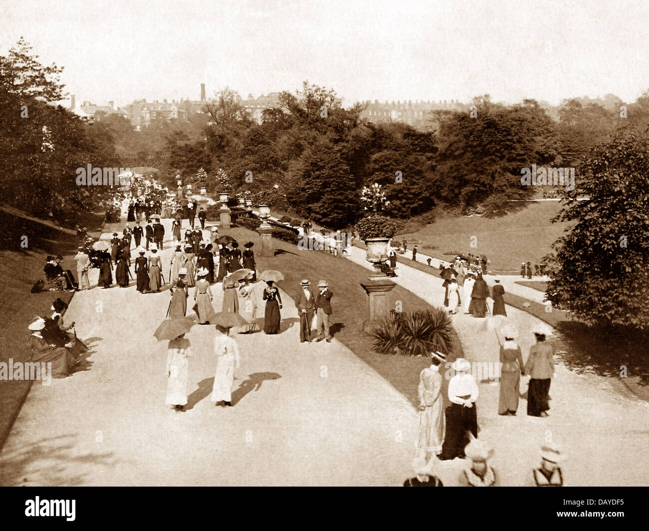 Preston Miller Park Broad Walk early 1900s - Stock Image