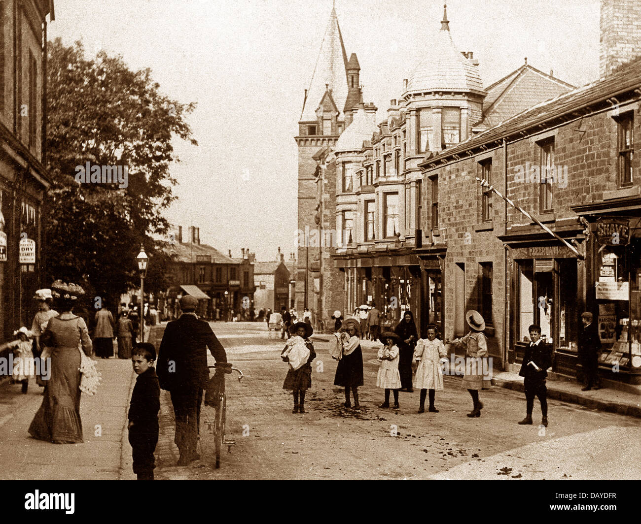 Pudsey Church Lane early 1900s - Stock Image