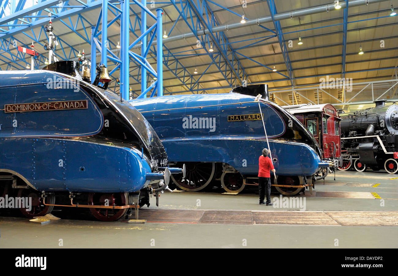 York England .A4 pacific steam locomotives 4489 Dominion of Canada and 4468 Mallard stand proudly in the National - Stock Image