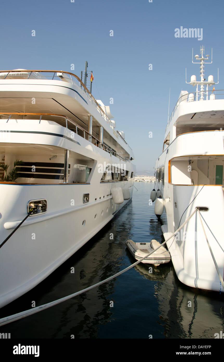 Saudi Royal super yachts 'Shaf' moored in luxury marina Puerto banus in Marbella. Costa del Sol, Spain. - Stock Image