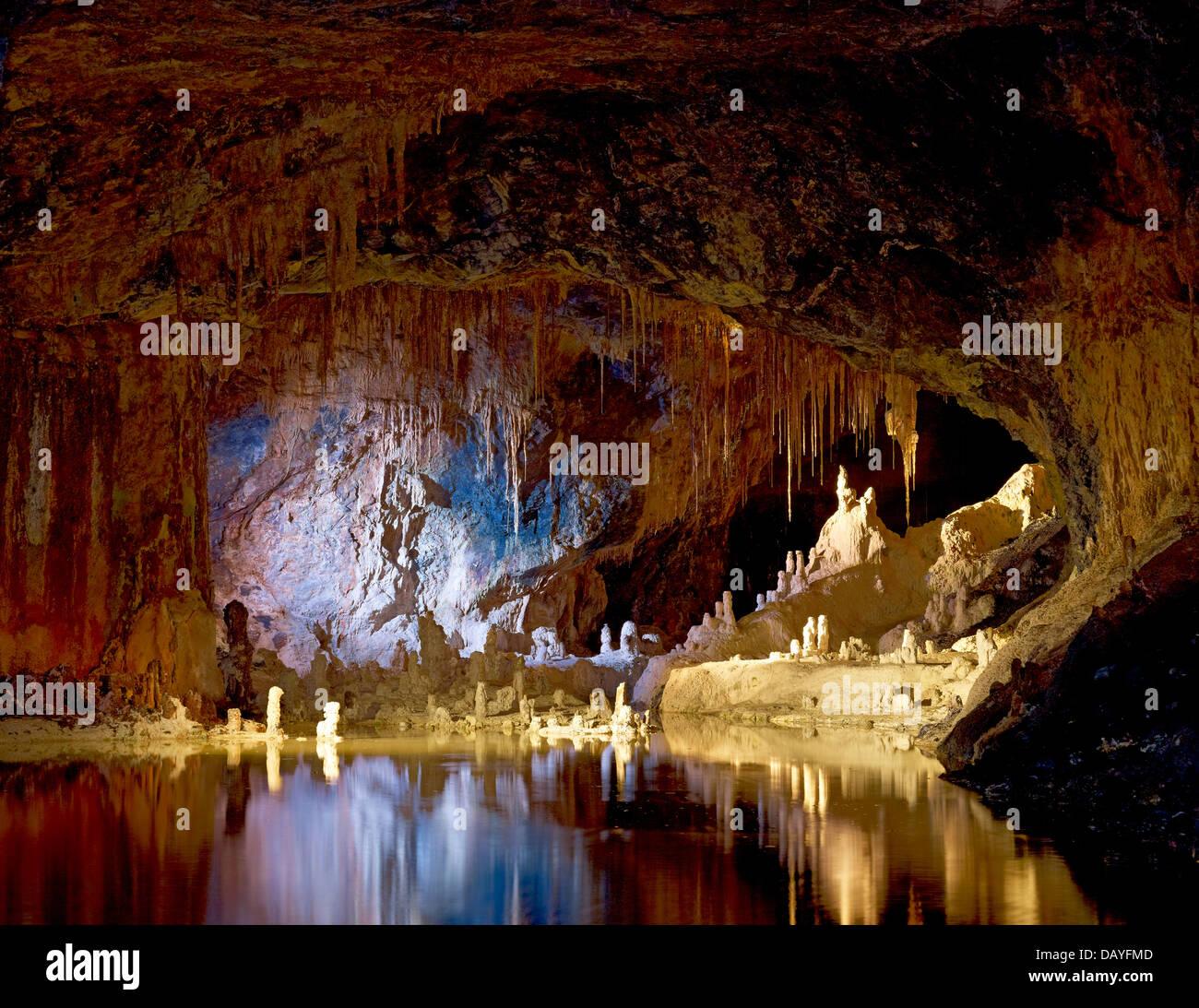 Fairytale cave of Saalfeld Fairy Grottoes, Saalfeld, Thuringia, Germany - Stock Image