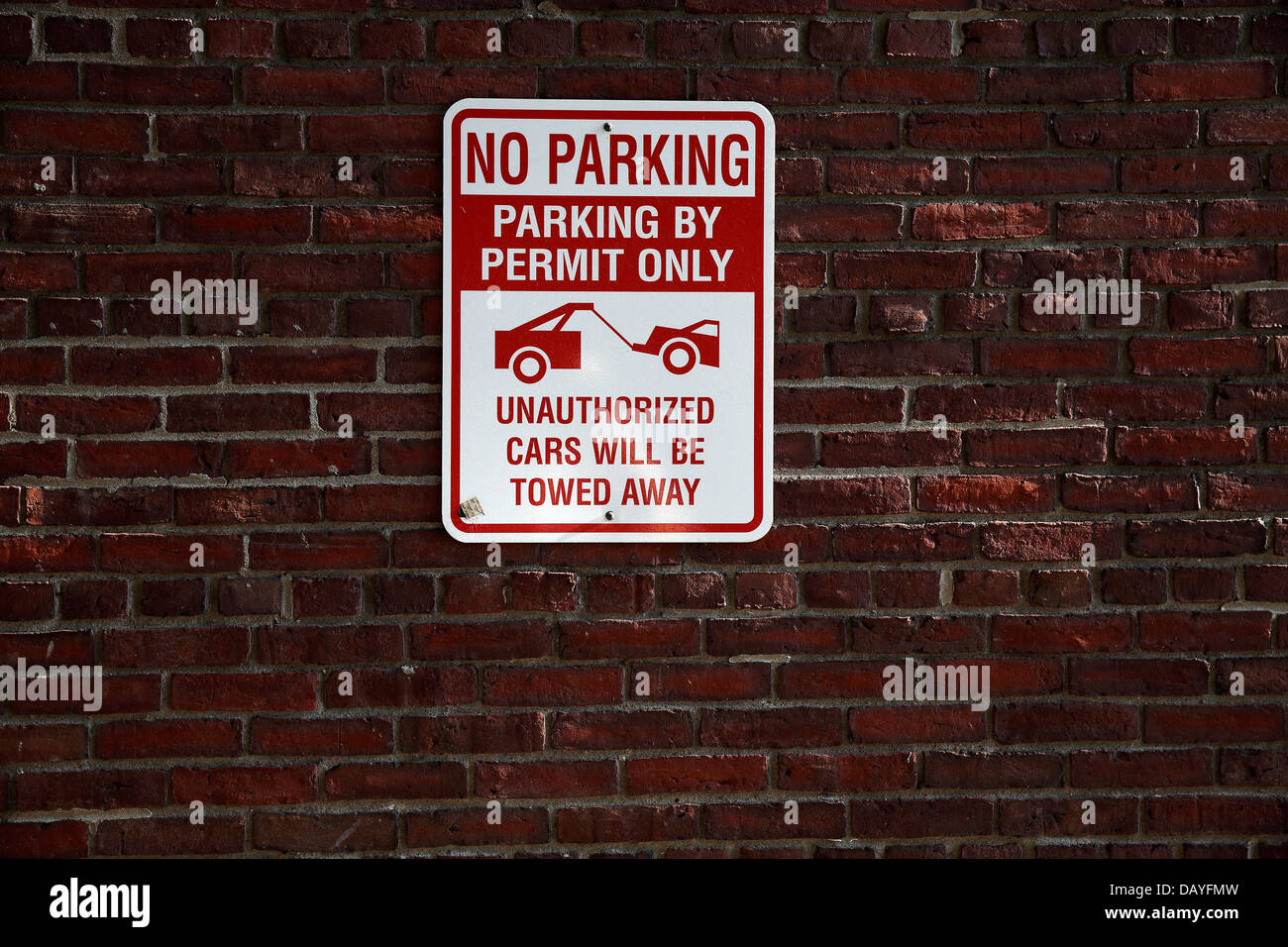 No parking tow zone sign - Stock Image